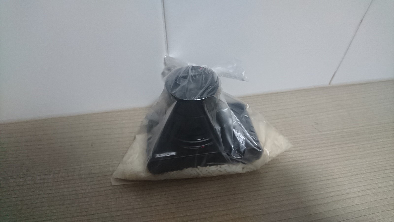 Camera In Sealed Bag With Rice