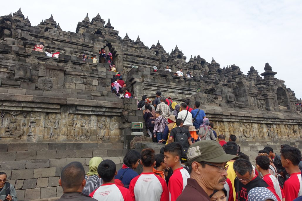 Borobudur Stairs To Top People